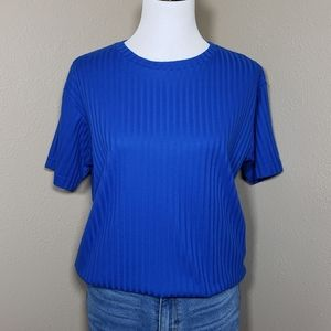 Vtg Rib Knit Tee Short Sleeve Royal Blue Small